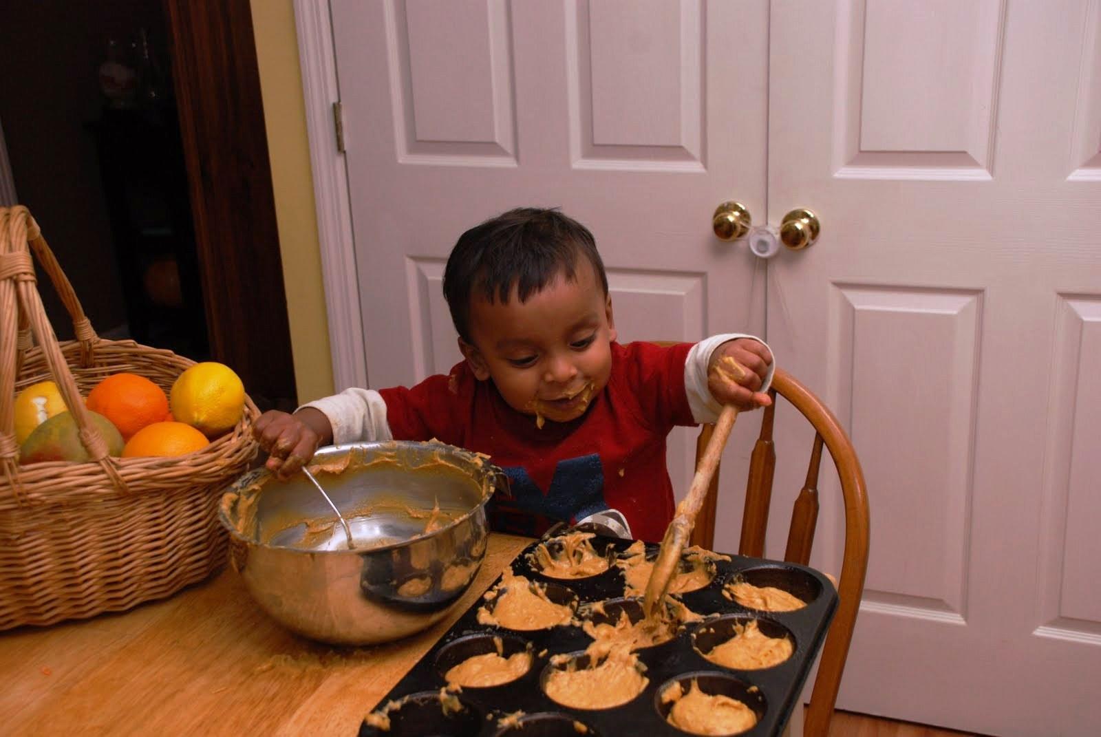 Manu at the kitchen table